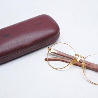 カルティエ(Cartier)のCARTIER カルティエ 木 135b 55□18 ウッドフレーム 超希少眼鏡(サングラス/メガネ)