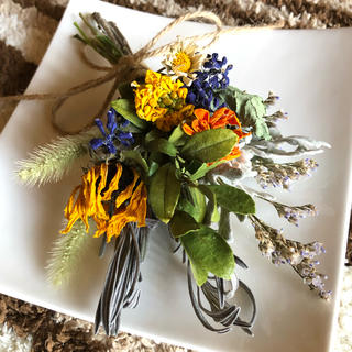 [春セール]小さなスワッグ ナチュラル  ビタミンカラー 花材 素材 H(ドライフラワー)