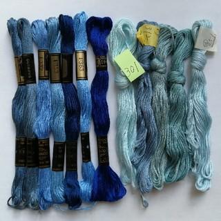 オリンパス(OLYMPUS)の刺繍糸OLYMPUS★ブルー 12本 オリムパス 25番 刺しゅう糸(生地/糸)