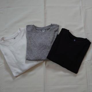 ユニクロ(UNIQLO)のユニクロキッズ長袖ロンTシャツ3枚セット黒白グレー120cm(Tシャツ/カットソー)