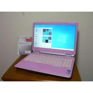 エヌイーシー(NEC)の希少カラー可愛いピンク HDD500G 高性能i3搭載 最新win10 テンキー(ノートPC)