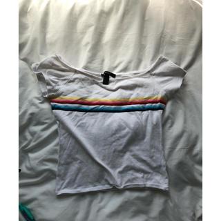 フォーエバートゥエンティーワン(FOREVER 21)のレインボー オフショルTシャツ(Tシャツ(半袖/袖なし))