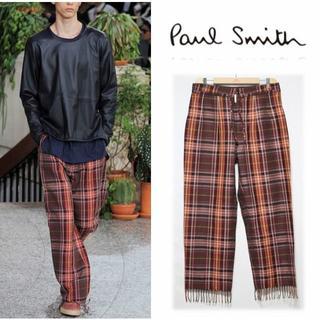 ポールスミス(Paul Smith)の新品【ポールスミス】CHECK TROUSERS 裾フリンジ麻パンツ XL(その他)