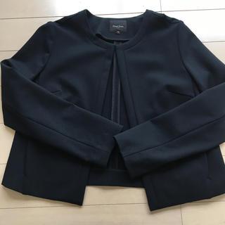 デミルクスビームス(Demi-Luxe BEAMS)のノーカラージャケット 黒 ジャージー 上品(ノーカラージャケット)