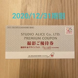 スタジオアリス JAL優待券 有効期間2020/12/31 (その他)