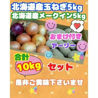 北海道玉ねぎ5kg➕メークイン5kgのセットで10kg☆送料無料です(野菜)