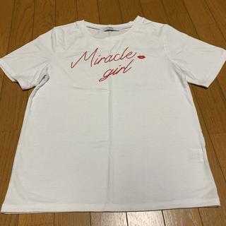 グレイル(GRL)のGRL ホワイト地にレッドロゴ入り 半袖Tシャツ Mサイズ(Tシャツ/カットソー(半袖/袖なし))