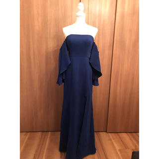 BCBGMAXAZRIA - BCBG オフショルダーロングドレス ブルー 青色