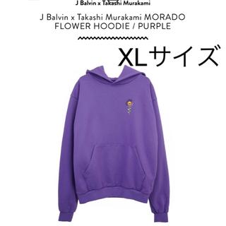 新品 紫 XL J balvin x 村上隆 お花 パーカー(パーカー)