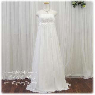 ヴェデングドレス エンパイア 刺繍 花嫁(ウェディングドレス)