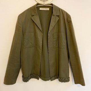 ミュウミュウ(miumiu)のmiumiu コットンカーキジャケット40 PRADAプラダ(ノーカラージャケット)