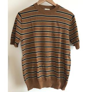 ジーユー(GU)のGU メンズ ハイネック ボーダーニットトップス(Tシャツ/カットソー(半袖/袖なし))