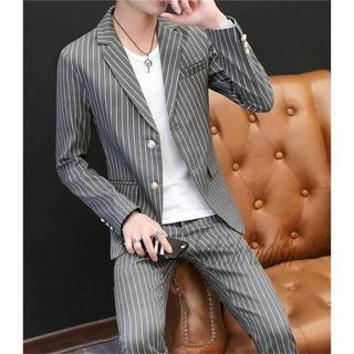ビジネススーツ メンズ ストライプ 紳士 2点セット (スラックス/スーツパンツ)