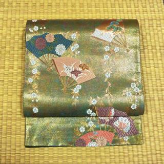 金と緑の織りに花と蝶の扇面 袋帯(帯)