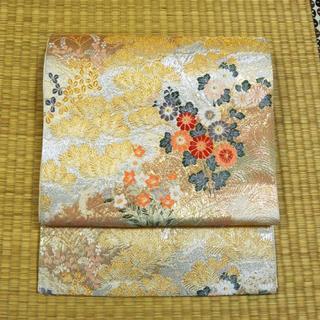 金銀織り模様に鶴と草花 袋帯(帯)