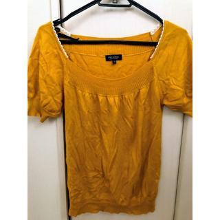 プーラフリーム(pour la frime)の2回着★半袖ニット★からし色★プーラフリーム★ぽわん袖★(ニット/セーター)