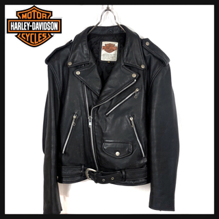 Harley Davidson - 90s ヴィンテージ ハーレーダビッドソン ライダース レザー ジャケット 希少