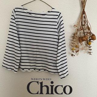 フーズフーチコ(who's who Chico)のボーダーカットソー(Tシャツ/カットソー(七分/長袖))