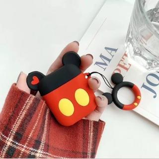 ディズニー(Disney)のAirpodsシリコンケース ミッキー Mickey ディズニー ストラップ付(ヘッドフォン/イヤフォン)