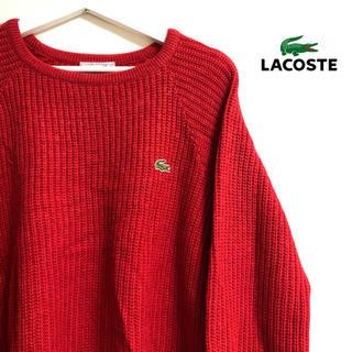 ラコステ(LACOSTE)のLACOSTE 輸入 red ロゴ ニット セーター USA古着 USED(ニット/セーター)