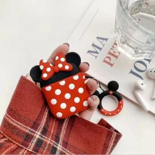 ディズニー(Disney)のAirPodsケース シリコン ミニー Minnie ディズニー  ストラップ付(ヘッドフォン/イヤフォン)