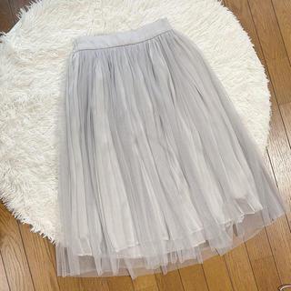 チュールスカート🌸グレー(ひざ丈スカート)