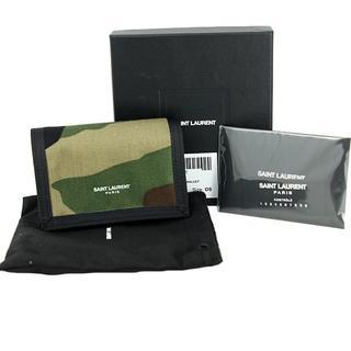 サンローラン(Saint Laurent)のh-h052 サンローラン 三つ折り財布 ミニウォレット カモフラージュ(折り財布)