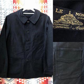 デッドストック 30-40年 モンサンミッシェル ブラックモールスキンジャケット(カバーオール)