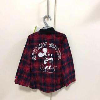 ディズニー(Disney)の新品 ミッキーマウス ジャケット風ネルシャツ 95cm キッズ ディズニー(その他)