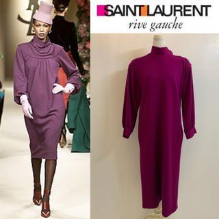 サンローラン(Saint Laurent)のSAINT LAURENT PARIS 80s FRANCE製 ドレスワンピース(ひざ丈ワンピース)