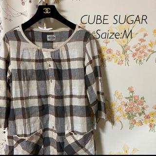 キューブシュガー(CUBE SUGAR)のシャツワンピース チェック(ひざ丈ワンピース)