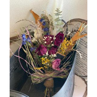 パンパスグラスとミモザ・薔薇さん達の豪華エレガントスワッグ&パステルカラーリース(ドライフラワー)