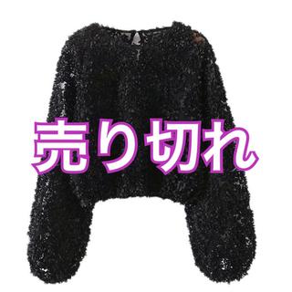 ザラ(ZARA)の新品 ZARA ブラック フラワー トップス(カットソー(長袖/七分))