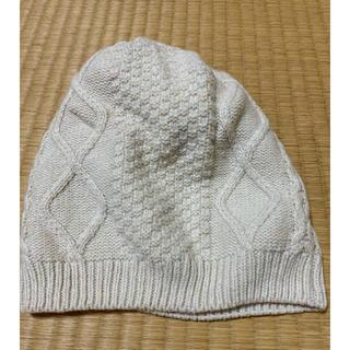 エイチアンドエム(H&M)のニット帽 ピーニー 白(ニット帽/ビーニー)