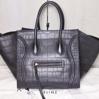 セリーヌ(celine)のCELINE セリーヌ ラゲージファントム 型押しクロコ ブラック 廃盤 正規(ハンドバッグ)