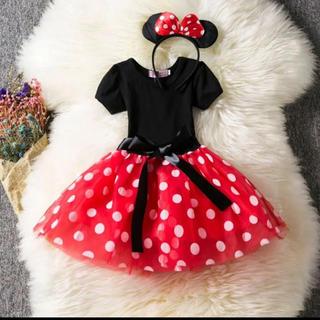 ディズニー(Disney)のミニー コスプレ なりきりコスチューム カチューシャ付き 2点セット(衣装一式)