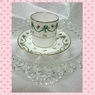 ロイヤルアルバート(ROYAL ALBERT)のイギリス アンティーク コールポート リボン デミタスカップ カップ&ソーサー(食器)