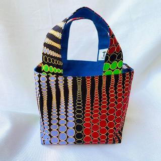 ドットパターン ランチバッグ 帆布 リバーシブル アフリカ布 バオバブ神戸(トートバッグ)