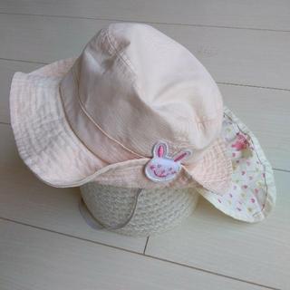 サンカンシオン(3can4on)の帽子2つ ベビー 50 女の子 ピンク うさぎ 3can4on 日除け(帽子)
