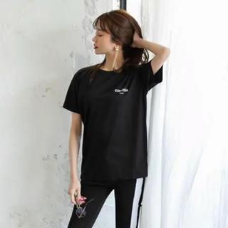 エミリアウィズ(EmiriaWiz)の新品 タグ付き 今季新作 エミリアウィズ ワンポイントロゴTシャツ 黒 s(Tシャツ(半袖/袖なし))