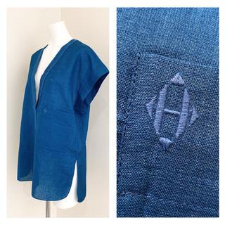 エルメス(Hermes)のHERMES リネンブレンド 刺繍 チュニックシャツ(シャツ/ブラウス(半袖/袖なし))