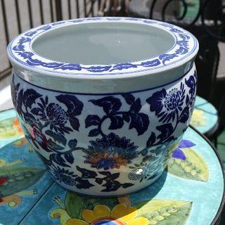 【現品限り】水鉢 10号サイズ 洋蓮青 鉢カバー プランターカバー 庭園家具(花瓶)