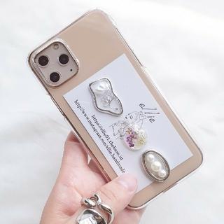 パールドライフラワーiPhoneケース ハンドメイド(スマホケース)