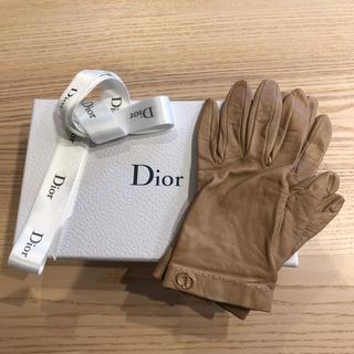 クリスチャンディオール(Christian Dior)のディオール 革手袋 本革 シルク 6半(手袋)