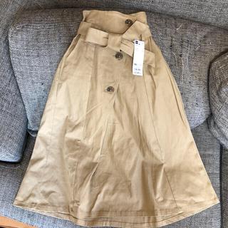 ジーユー(GU)の新品 GU ガールズ トレンチスカート ベージュ 150 女の子 スカート(スカート)