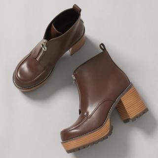 ジーナシス(JEANASIS)のJEANASIS ブラウン Lサイズ ジップデザインヒールブーツ 新品未使用品(ブーツ)