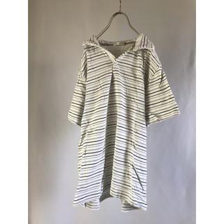シマムラ(しまむら)の半袖 ポロシャツ 白 ボーダー Lサイズ 古着 used 夏 夏物 春物 大人(ポロシャツ)