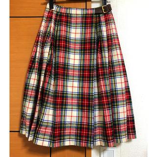 オールドイングランド(OLD ENGLAND)のOLDENGLAND チェックプリーツスカート 巻きスカート(ひざ丈スカート)