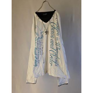 シマムラ(しまむら)の長袖 Tシャツ メンズ 白 ネックレス 重ね着風 XLサイズ LL 古着 柄(Tシャツ/カットソー(七分/長袖))