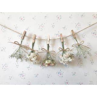 淡い3種のバラとかすみ草のホワイトピンクドライフラワーガーランド♡(ドライフラワー)